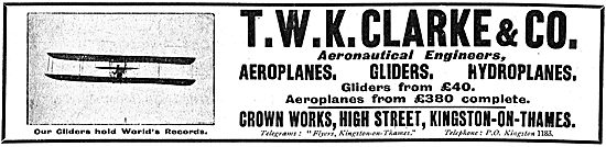 T.W.K. Clarke Aero Engineers. Crown Works, High Street, Kingston