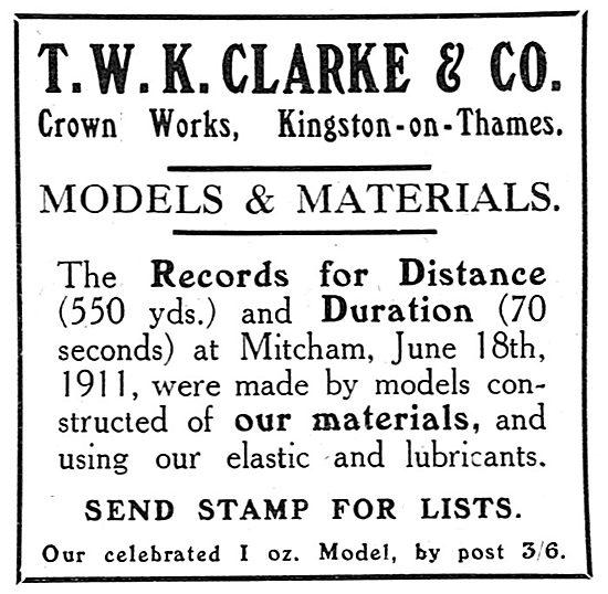 T.W.K. Clarke - Aeroplanes - Gliders - Models & Materials