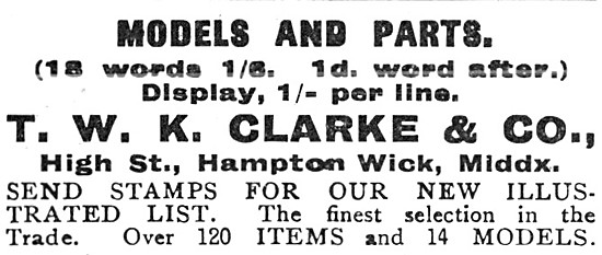 T.W.K.Clarke Model Aircraft Parts - Hampton Wick