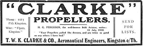 Irish Aviator H.G.Ferguson Praises T.W.K. Clarke's Propellers