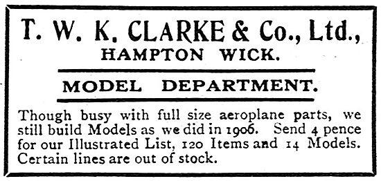 T.W.K. Clarke Model Aircraft
