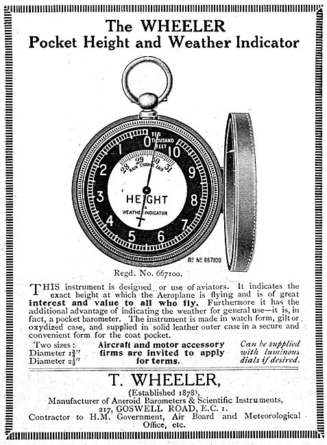 T.Wheeler.  Pocket Height & Weather Indicator. 1919 Advert