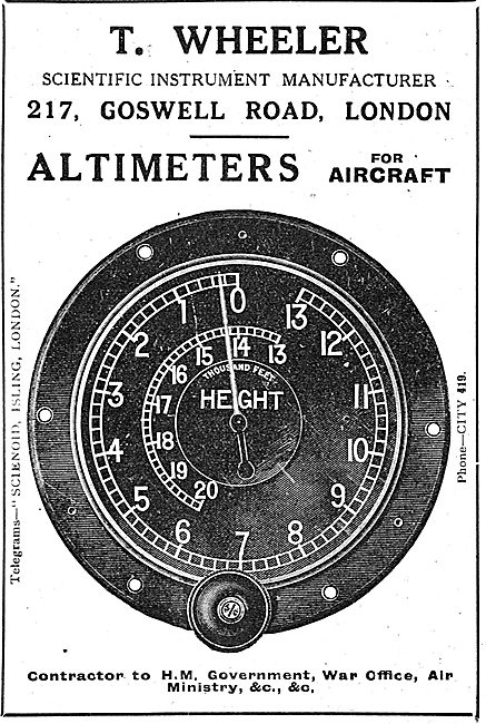 T.Wheeler Altimeters For Aircraft