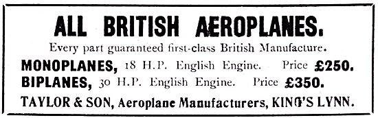 Taylor & Son. Kings Lynn. Aeroplane Manufacturers
