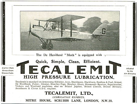 The DH Moth Is Equipped With Tecalemit High Pressure Lubrication