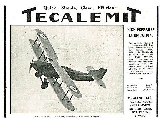 Fairey Aircraft Use Tecalemit High Pressure Lubrication