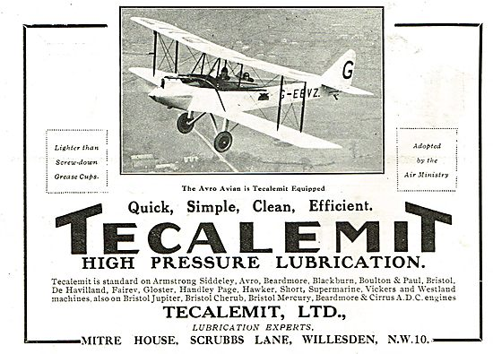Tecalemit High Pressure Lubrication For The Avro Avian