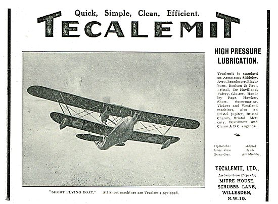 Tecalemit High Pressure Lubrication For The Short Flying Boat