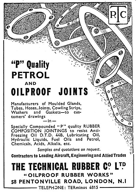 Technical Rubber - 'P' Quality Petrol & Oilproof Joints 1939