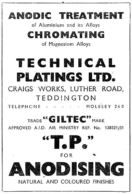 Technical Platings. Anodic Treatment - Giltec 1943
