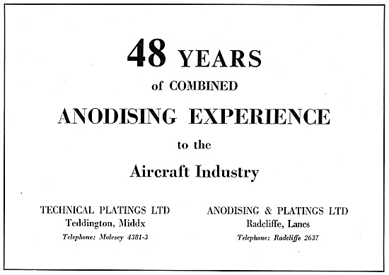 Technical Platings Anodising 1958