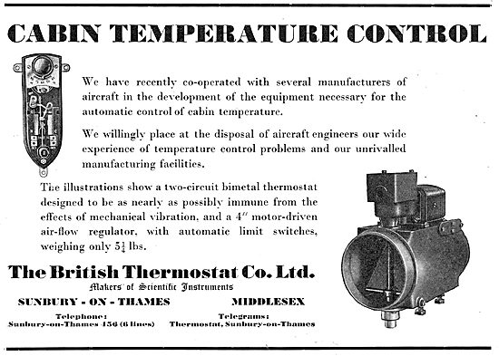 British Thermostat. Cabin Temperature Controls