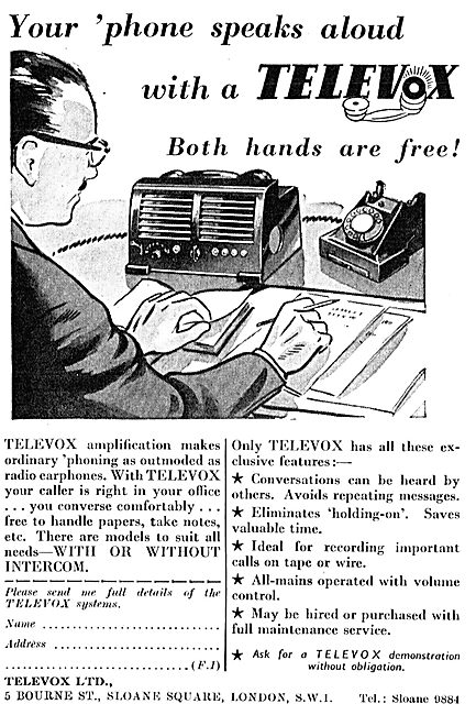 Televox - Hands Free Telephone Speaker System For Offices (1953)