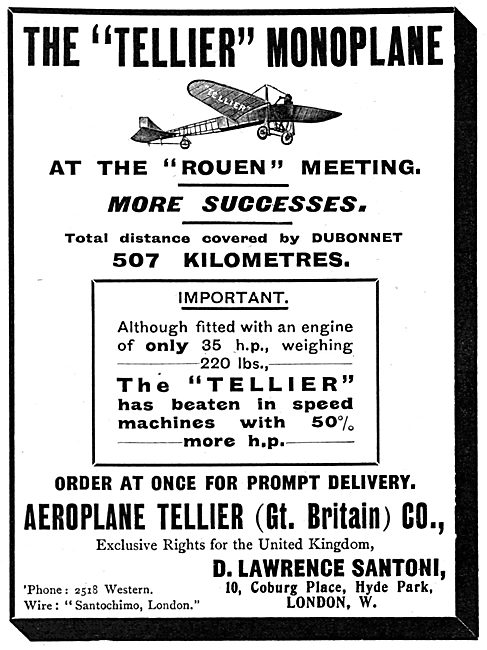 The British Tellier Aeroplane Co. Tellier Monoplanes