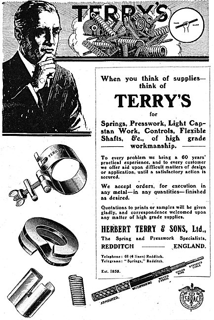Herbert Terry, Redditch. Presswork & Capstan Work For Aircraft