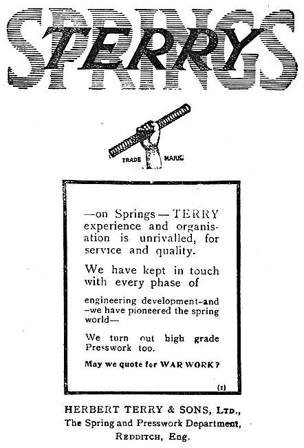 Herbert Terry & Sons. Terry Springs   1919 Advert