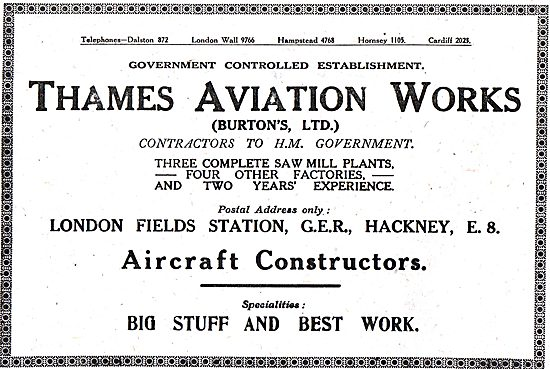 Thames Aviation Works.- Aircraft Constructors & Sawmills