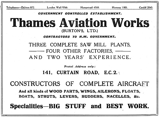 Thames Aviation Works.- Burtons Ltd.  Sawmills
