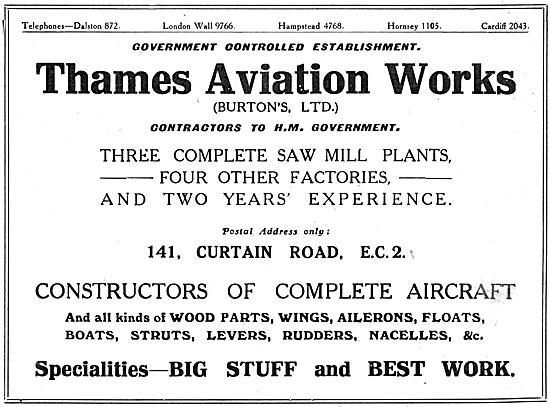 Thames Aviation Works.- Burtons Ltd.  Sawmills