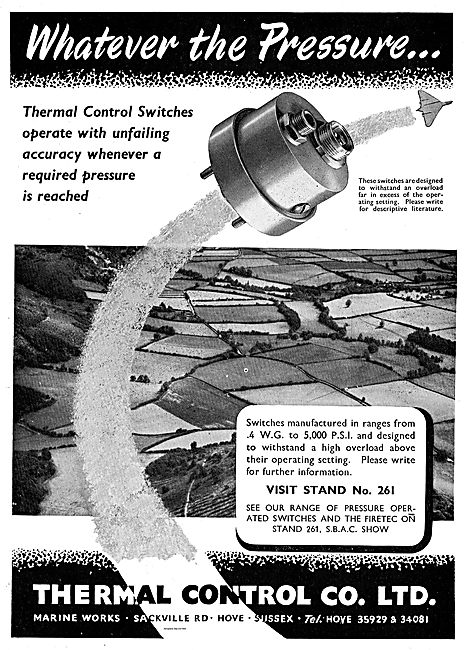 Thermal Control Switches. Ranges .4WG to 5000 psi.