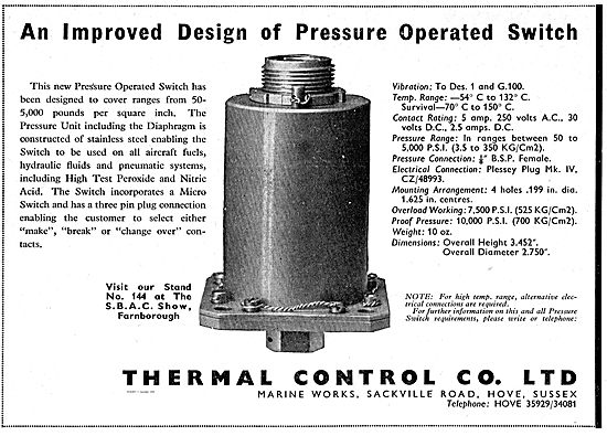 Thermal Control 50-5000 psi Pressure Operated Switch