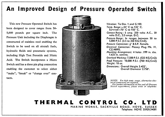 Thermal Control Pressure Operated Switches