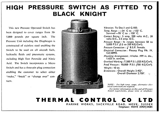Thermal Control Pressure Operated Switches For Missiles
