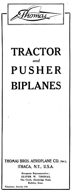 Thomas Brothers Aeroplane Co - Tractor & Pusher Biplanes 1916