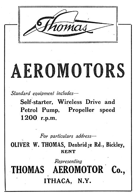 Thomas Aeromotors. UK Agent Oliver Thomas Bickley Kent