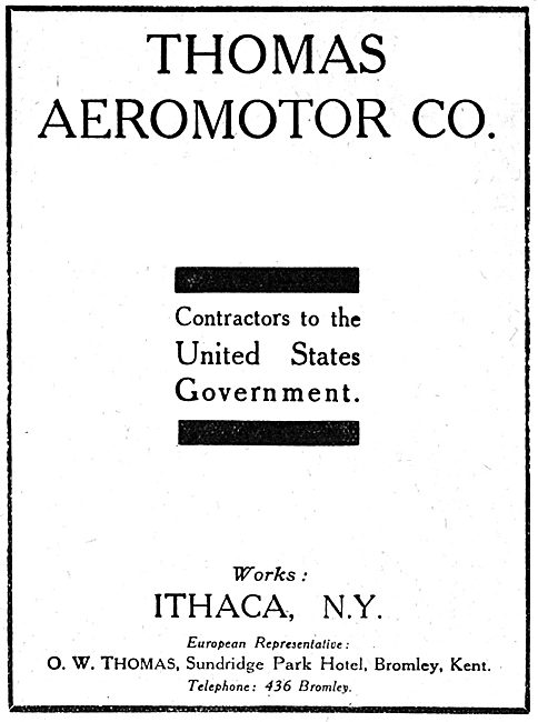 Thomas Aeromotor. New York. WW1 Advert