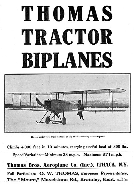 Thomas Brothers Military Tractor Biplanes - 1915