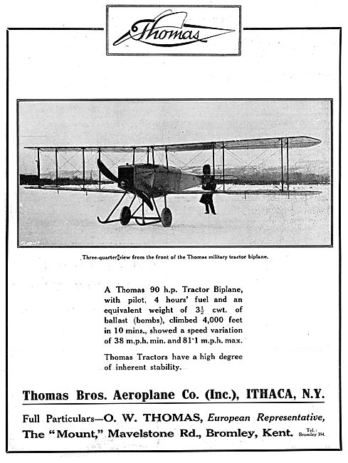 Thomas Brothers 90 H.P. Tractor Biplane 1915