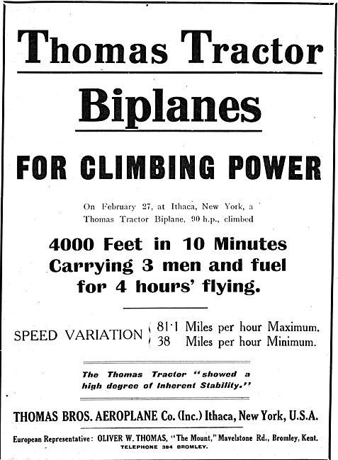 Thomas Tractor Biplanes -  - Europe Rep Oliver W.Thomas