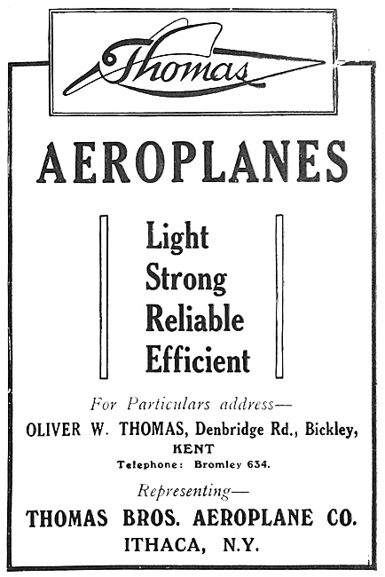 Thomas Brothers Aeroplanes 1916 Advert