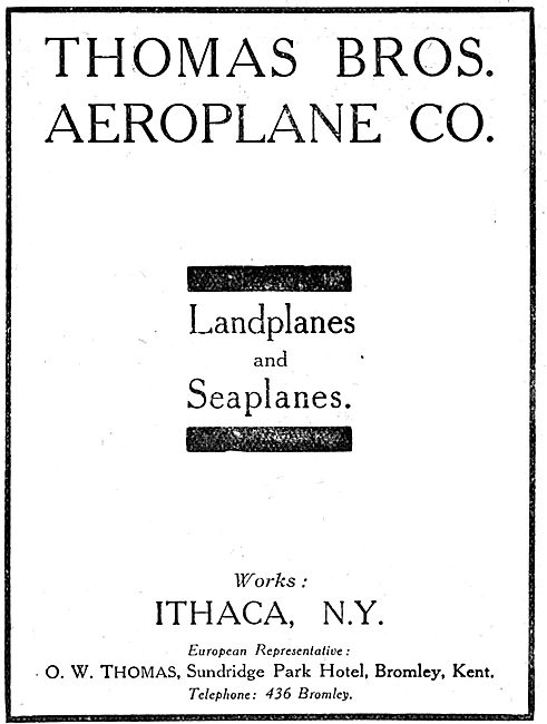 Thomas Brothers Aeroplanes - Ithica. N.Y. 1917