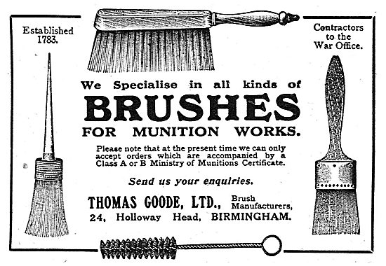Thomas Goode Ltd - Specialist Brushes For Munitions Works