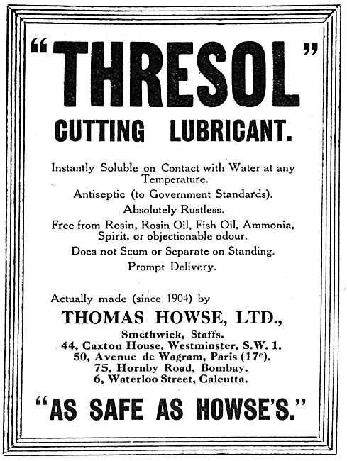 Thomas Howse Ltd - Machine Tool Cutting Lubricants