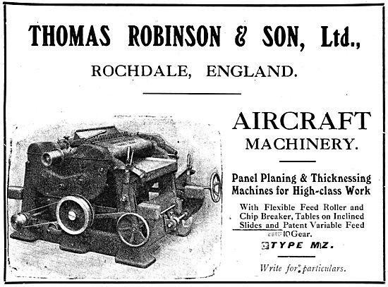 Thomas Robinson & Sons - Rochdale. Type MZ Panel Planing Machines