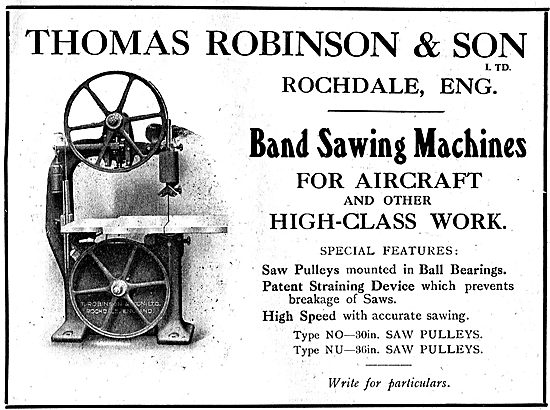 Thomas Robinson & Sons Band Sawing Machines For Aircraft Work
