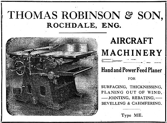 Thomas Robinson & Sons Aircraft Woodworking Machinery