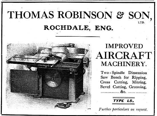 Thomas Robinson & Sons Improved Aircraft Woodwork Machinery