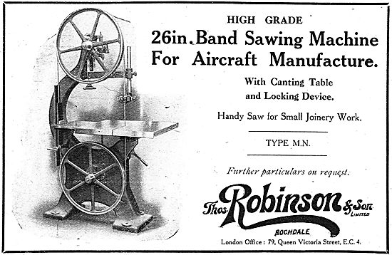 Thomas Robinson & Son Machinery For Aircraft Constructors