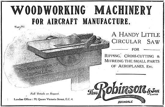 Thomas Robinson & Son. Woodworking Machinery For Aircraft
