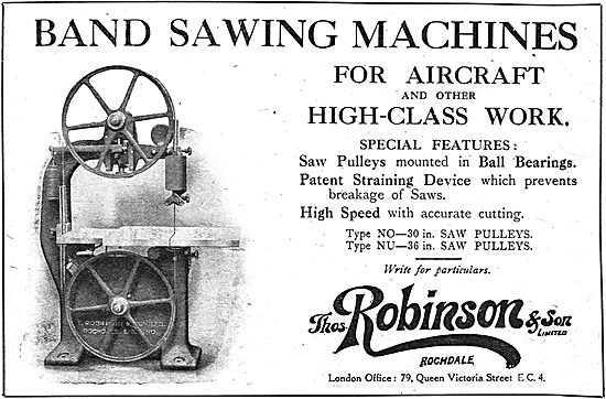 Thos Robinson & Son. Rochdale Band Saws For Aircraft Constructors