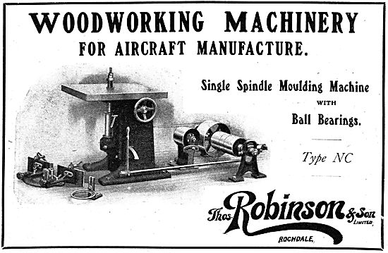 Thomas Robinson & Sons - Woodworking Machinery. 1918 Advert