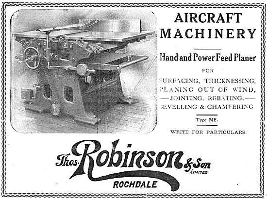 Thomas Robinson Aircraft Woodworking Machinery 1918