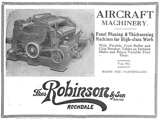 Thomas Robinson & Sons. Aircraft Woodworking Machinery