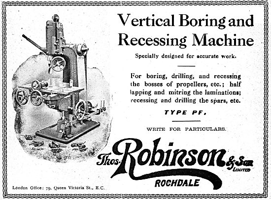 Thomas Robinson & Sons. ROchdale. Woodworking Machinery 1919