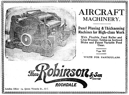 Thomas Robinson Woodworking Machinery For The Aircraft Industry
