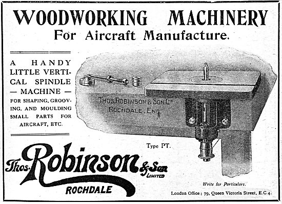 Thomas Robinson & Sons. Woodworking Machinery. 1919 Advert